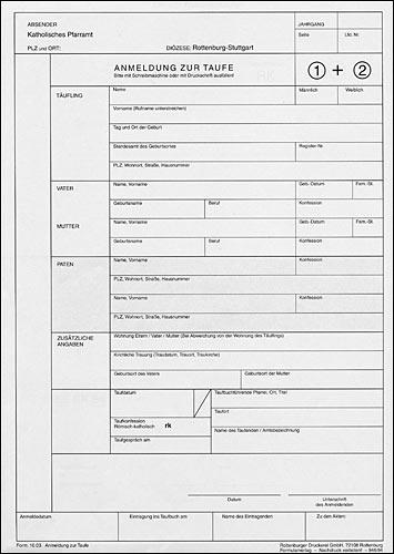42.021 Pfarramtliches Tagbuch - für Kollekten und Gaben • Titelbogen lose