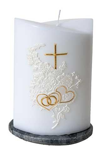 Hochzeitskerze oval ohne Kerzenteller