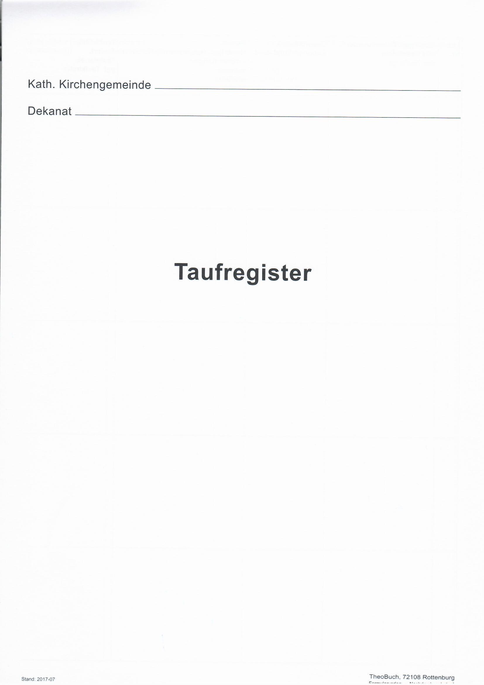 10.011a Taufregister - Titelbogen