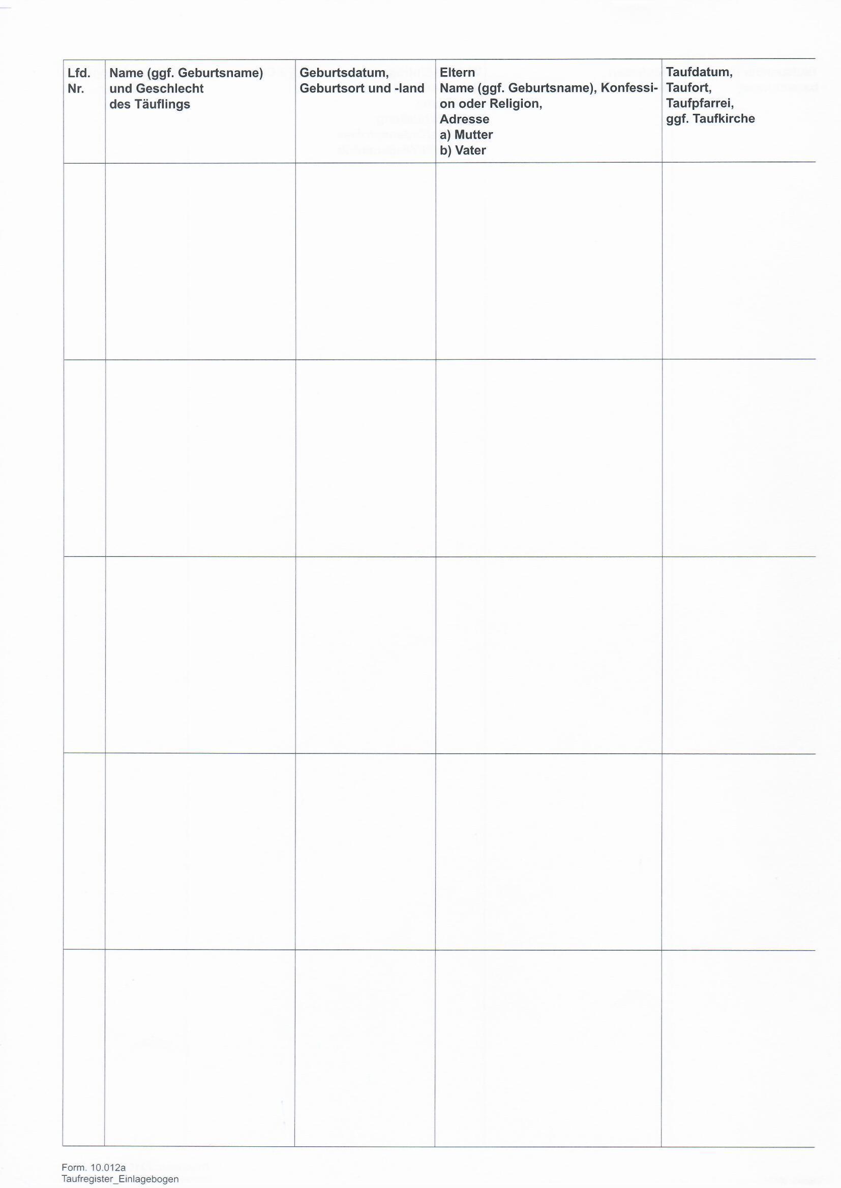 10.012a Taufregister - Einlagebogen