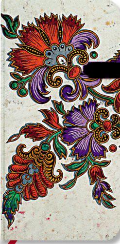 Notizbuch Passionsblume auf Elfenbein schlank, liniert