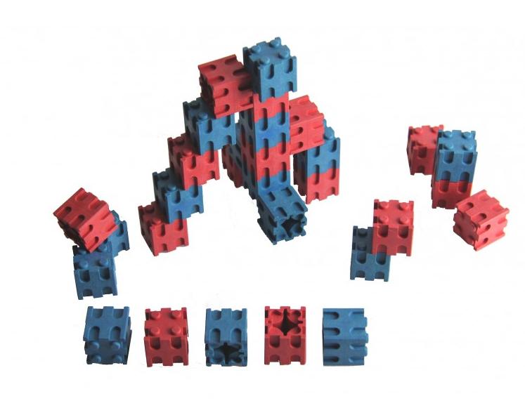 30 Steckwürfelrot-blau