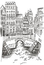 Briefkarte Stade - Hudebrücke am Alten Hansehafen