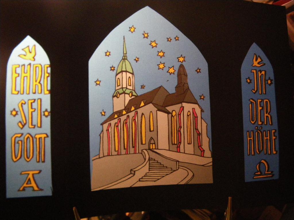 Weihnachts-Transparent Roßweiner Kirche