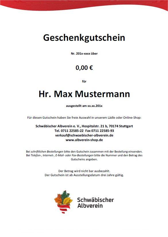 Geschenkgutschein des Schwäbischen Albvereins (Online-Version)