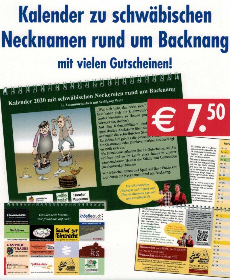 Kalender 2020 mit schwäbischen Neckereien rund um Backnang