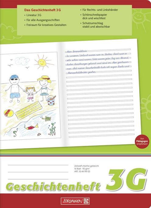 Geschichtenheft Klasse 3 (A4, 16 Blatt, Lineatur 3G) 104499103