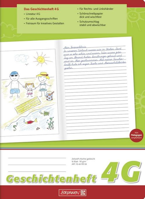 Geschichtenheft Klasse 4 (A4, 16 Blatt, Lineatur 4G) 104499104