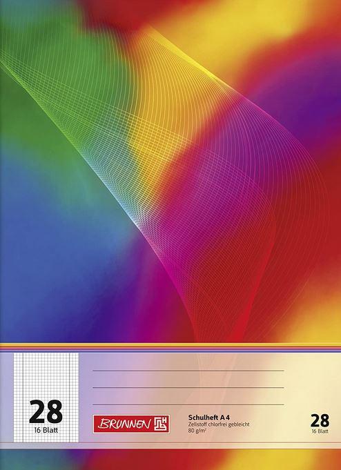 Schulheft A4, 16 Blatt, 5 mm kariert, mit Rand, Lineatur 28 // 104492802