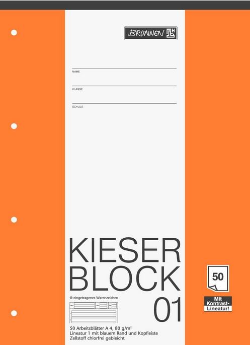 KIESER-Block Lineatur 1 (A4, 50 Blatt, gelocht, 80 g/m², Klasse 1) 1042941