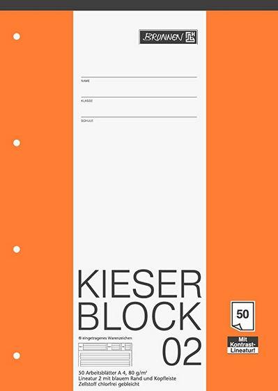 KIESER-Block Lineatur 2 (A4, 50 Blatt, gelocht, 80 g/m²) 1042942