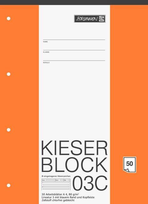 KIESER-Block Lineatur 3 (A4, 50 Blatt, blanko, 80 g/m², Klasse 3) 1042923