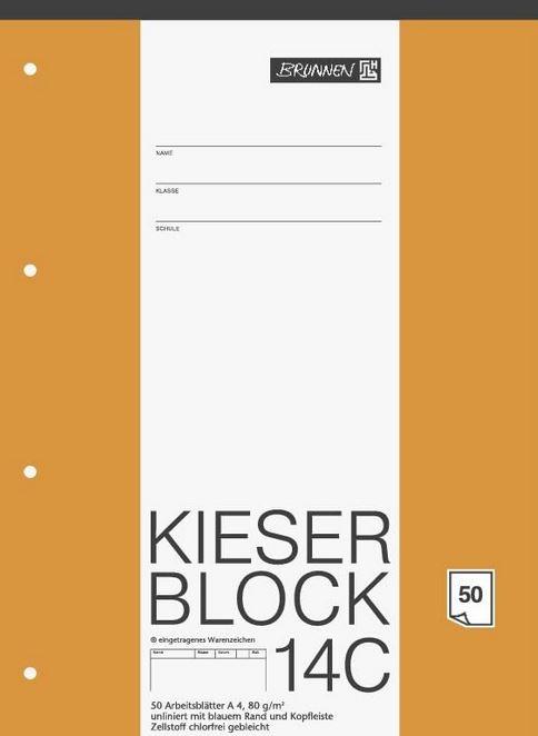 KIESER-Block Lineatur 20, A4, 50 Blatt, blanko, 80 g/m², gelocht, 1042924