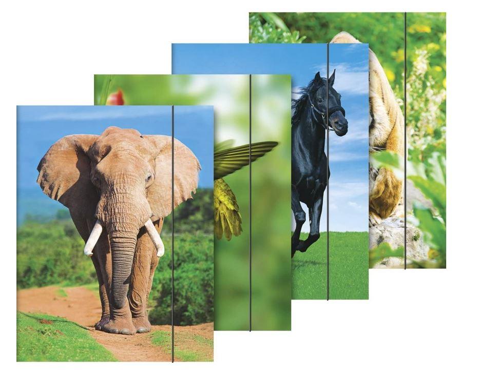 Sammelmappe (A3, Karton, mit Gummizug, Tiermotive) 1047035