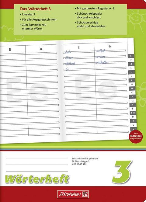 Wörterheft 3, A5, 28 Blatt, Lineatur 3, mit Register, // 1045996