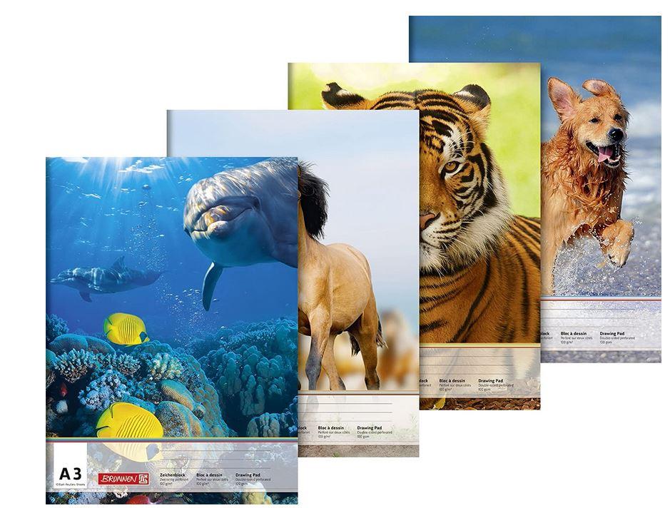 Zeichenblock (A3, 100 g/m², 10 Blatt) Tiermotive  1047903