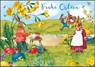 Frohe Ostern - Hasenfamilie nostalgisch