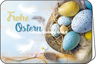 Frohe Ostern - bunte Eier im Nest
