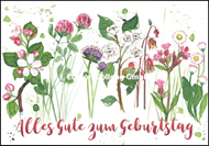 Alles Gute zum Geburtstag - Frühlingsblumen gemalt