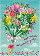 Herzlich Geburtstagsgrüße - gemalter Blumenstrauss