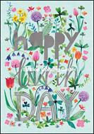 happy Birthday - gemalte Frühlingsblumen