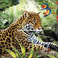 Leopard mit Papageien