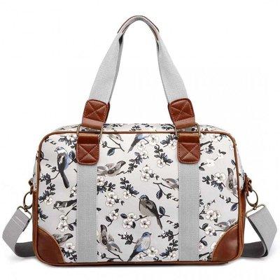 Reisetasche klein grau mit Vogelmotiv